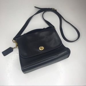 COACH VINTAGE COURT BLACK CROSSBODY BAG PURSE 9870